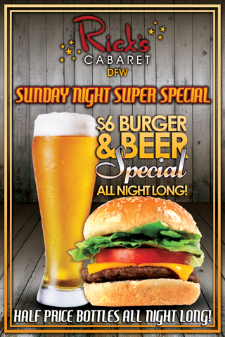 $6.00 Burger and Beer Special
