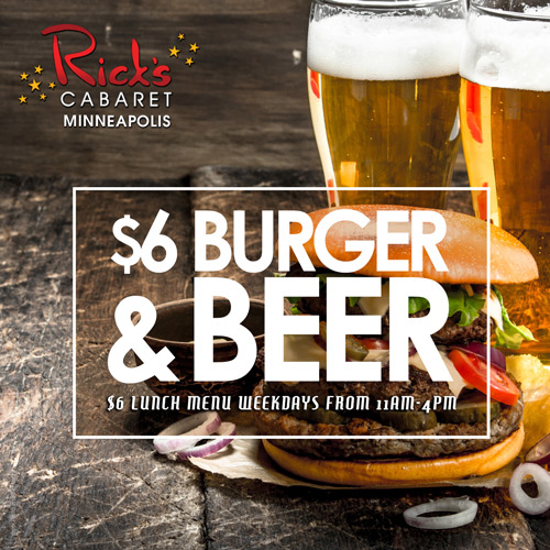 Graphic for $6 Burger and Beer Special