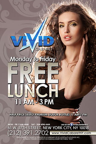 Free Lunch Monday - Friday - Enjoy a complimentary lunch Monday-Friday 11am-3pm with a 2 drink minimum