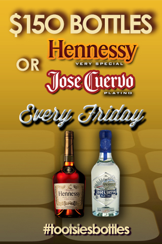 $150 Hennessy & Jose Cuervo Platino Fridays - Every Friday enjoy $150 bottles of Hennessy & Jose Cuervo Platino on the main floor!