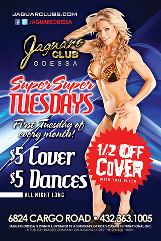 Super Tuesday - every first Tuesday of the month super Tuesday $5 cover and $5 dances all day all night