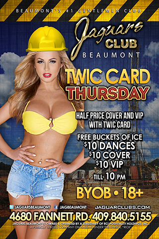 T.W.I.C. Card Tuesday - T.W.I.C. Crad Tuesday. Show your TWIC card, plant badge, or ISTC badge at the door and get half off cover and half off VIP upgrades.