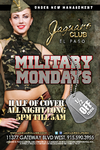 Military Mondays - Start the week off right for all military personnel join us from 5pm till 5am. Must have military id present for discount. Half of cabanas all night.