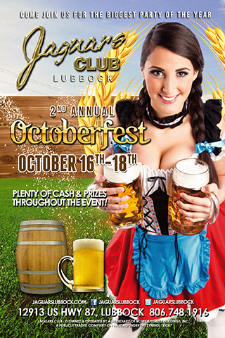 october fest - Jaguars biggest party of the year come join us for our 2nd annual October fest party with plenty of cash and price contests throughout the event.October 16th through the 18th