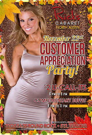 saturday november 22nd customer appreciation party $2 u call it drinks - 6pm - 9pm complimentary buffet - 9pm - 11pm
