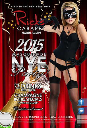 New Years Eve Masquerade party   $3 Wells and Domestics until 10pm.  Champagne Bottle Specials open to close, Champagne toast at midnight.