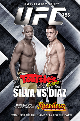 UFC 183 Silva vs Diaz - Join us for UFC 183 Anderson Silva vs Nick Diaz broadcast live in Knocker's Sports Bar with full audio. 4 full liquor bars and a tantalizing full food menu. Come for the fight, stay for the party!