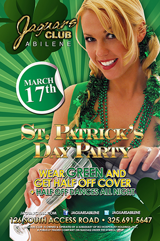 st particks day - st Patricks day party wear your green t shirt and get half off cover plus half price dances all night