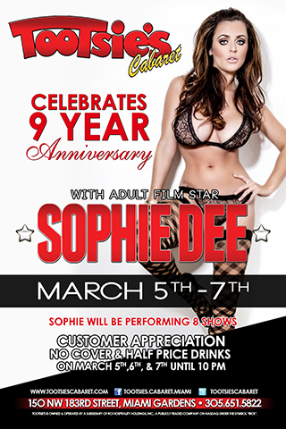 Tootsie's Cabaret celebrates 10 year anniversary with Sophie Dee - Tootie's Cabaret celebrates 10 year anniversary with pornstar Sophie Dee.