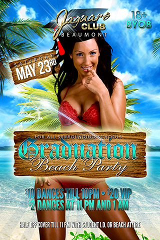 graduation beach party - Beach background with sexy girls in bikini holding a diploma wearing graduation cap