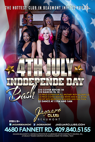 fourth of july independece day bash - $10 cover before 10  $10 dances til 10 1/2 price cover for all military with military I.D. 1/2 price cover with red white and blue attire  $20 VIP with Beerpong Washers and Free pool  $2 dance at 11 and 1