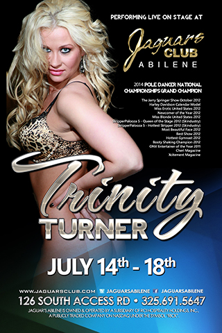 TRINITY TURNER - TRINITY TURNER PERFORMING JULY 7TH THOUGH THE 11TH 