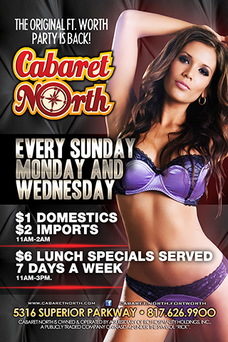 Sunday, Monday, Wednesday - $1 Domestics & $2 Imports!