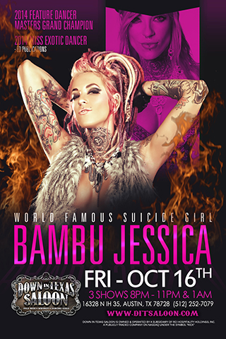 Bambu Jessica - Special performer Bambu Jessica Live on stage  Friday October 16th 3 shows 8pm - 11pm & 1am