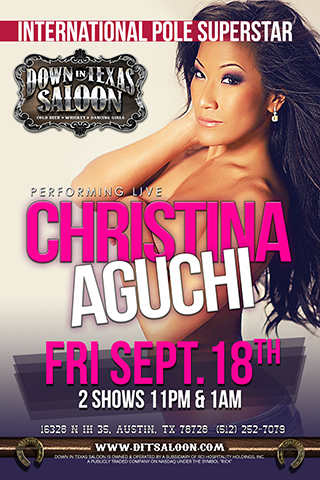 Christina Aguchi - Asian Sensation CHRISTINA AGUCHI performing live on stage. Friday September 18th 2 shows 11pm & 1am Gorgeous face - HOT body & Totally AMAZING on stage!