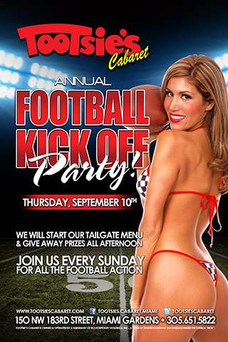 Football Kick-Off Party - Come join us for our official kickoff of NFL Regular season football. We will be starting our Tailgate Menu and giving away prizes. Join us for all the fun and every game, every Sunday.
