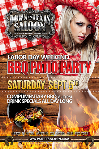 Labor Day Weekend Patio BBQ Party - Come enjoy our Sunset Patio for a Labor Day BBQ party!  We will have a complimentary BBQ buffet from 8 until 10pm, and have Drink Specials all night!