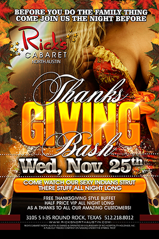 The night before thanbksgiving is usually a big night for us, and we will capitalize with our pre thanksgiving bash