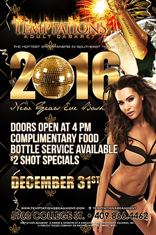 Temptations New Years Eve Blast - New Years Eve party to Include party favors, free food, and 2 dollar shot specials.