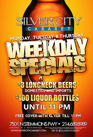 $3 Longnecks till 11pm (Mondays, Tuesdays & Thursdays)