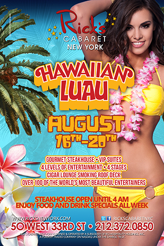 Hawaiian Luau - Welcome to the Rick's Cabaret Hawaiian Luau. Enjoy Food and Drink Specials all week.