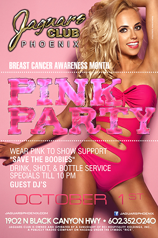 Pink Party - Wear your PINK. Join Jaguars on October 1st as we help raise awareness for breast cancer. Pink EVERYTHING. The staff and entertainers will be dressed up also
