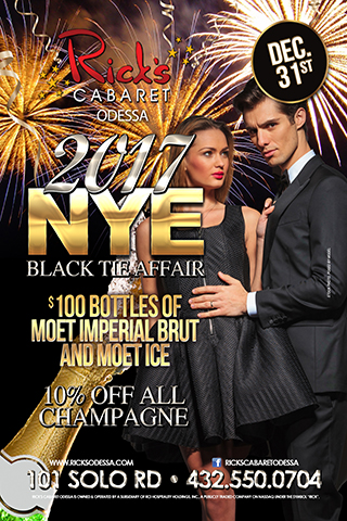 New years eve black tie affair - Join us here at Ricks to bring in the new year! its a black tie affair so dress to impress and get free cover. $100 bottles of Moet imperial brut, and Moet Ice. and 10% off all champagne. bring in the new year with a champagne toast to start off 2017.