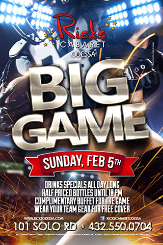 Rick's Bowl 51 - Join us here at ricks for the big game. Drinks specials all day long. 1/2 priced bottles until 10 pm. complimentary buffet for the game. wear your team gear for free cover.