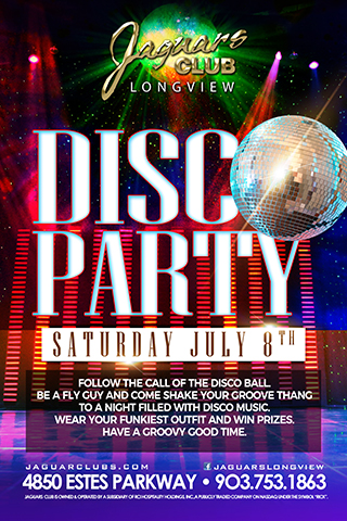 Groovy Disco Party - Follow the call of the Disco Ball!! Be a fly guy and shake your groove thang to a night of Disco Music. Come dressed in your favorite Funky outfit and win prizes. This is going to be one groovy party.