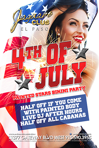 4th of July Painted Stars Bikini Party - Come and enjoy our first annual painted bodies bikini party. Half off any people that walk in with painted body parts or bikinis. Live DJ after hours.