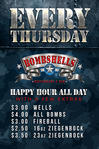 Graphic for Thursday All Day Happy Hour