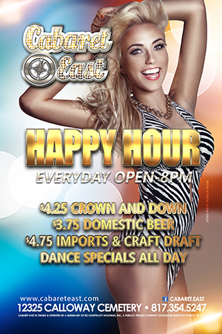 Happy Hour every day from Open till 10pm 