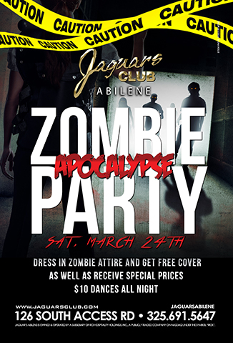 JAGUARS APOCALYPSE - JAGUARS APOCALYPSE  COME AND JOIN US FOR JAGUARS ZOMBIES THEME PARTY  DRESS IN ZOMBI ATTIRE AND GET FREE COVER AS WELL AS RECEIVE SPECIAL PRICES .$10 Dances all night
