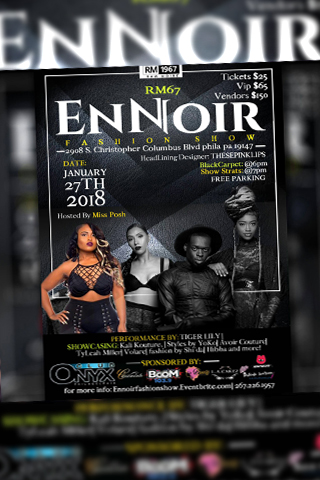 EnNoir Fashion show - Saturday January 27th Black carpet: 6pm Show starts: 7pm @iamclubonyx & RM67 Presents: En Noir Fashion Show Come Out and Experience Black Excellence. Featuring A Show Of Beauty and Style. You Do Not Want To Miss The Biggest Show to Start The New Year! Miss Posh (@Miss__Posh) and ShessoFancy Will Be Hosting, Along With Our Main Designer Iris Bonner, Known As These Pink Lips (@ThesePinkLips) styled by YoKo Other featured designers such as TyLeah Miller, Styles by Yoko, Fashion by Shi'da and much more! Black Carpet starts at 6pm and is hosted by Tiffani D (@tiffani_d_model). We will also have amazing vendors for our guests to enjoy including our dessert sponsor L.A. Cakez Musical Performance by Tiger Lily (@BewareofTiger) and Rosado (@Rosegoldod)
