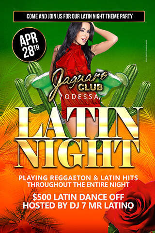 Latin nights theme party - Come and join us for our Latino nights theme party April the 28th.Playing reggaeton and Latin hits throughout the entire night.Join us for our $500 Latin dance off contest hosted by DJ 7 Mr Latino himself.April 28 will be red hot,