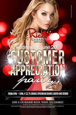 Customer Appreciation Party Wednesday June 20th from 5pm - 11pm $2.75 Drinks (Premium brand liquor & down)