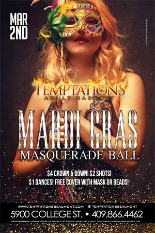 Mardis Gras Masquerade Ball - Come celebrate Mardi Gras with us at our annual Masquerade Ball! $4 Crown & Down! $2 Shots Specials! $1 Dances!