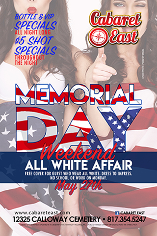 Bottle and VIP specials all night long; $5 shot specials throughout the night; MDW All white party ! Guest wear all white for FREE cover.