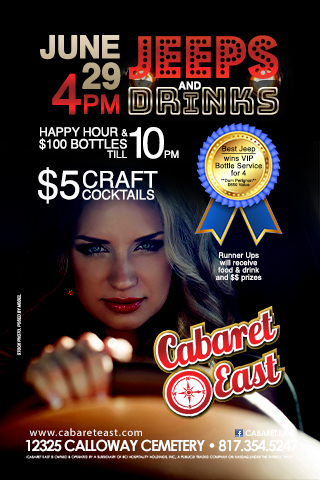 Event starts at 4pm; Happy Hour till 10pm; $5 craft coktails $100 bottles till 10pm; Jeep owners and vendors will set their jeeps/products up in designated areas (parking lot and inside) Best Jeep wins VIP service for 4 (Bottle of Dom Perignon Free cover for up tpo 4 guest and VIP section) $650 value- Runner ups will receive food and drink and cash prizes.
