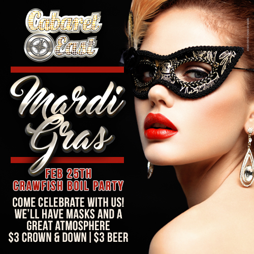 We will be having a crawfish boil to celebrate mardi gras on feburary 2/25/2020. Come celebrate with us well have mask and a great atmoshpere. $3 crown and down and $3 beer