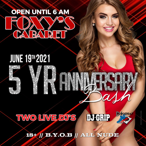 Graphic for Foxy's 5 Year Anniversary Bash